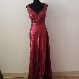 Burgundy Sequin Romper Gown